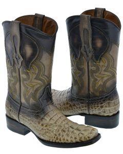 Men's Beige Sand Crocodile Print Western Leather Cowboy Boots Square Toe
