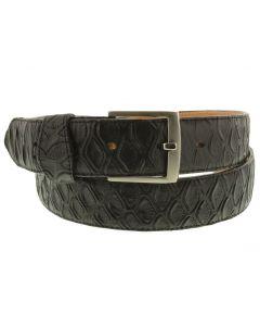 Men's Black Anteater Print Leather Western Cowboy Belt Silver Buckle