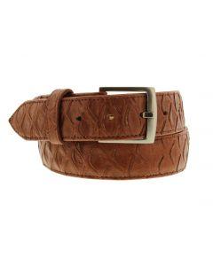Men's Cognac Anteater Print Leather Western Cowboy Belt Silver Buckle